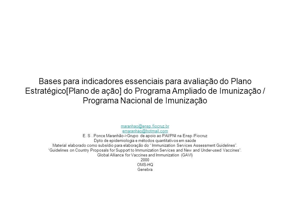 Bases para indicadores essenciais para avaliação do Plano Estratégico[Plano de ação] do Programa Ampliado de Imunização / Programa Nacional de Imunização